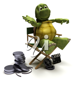 3D render of a tortoise in a directors chair