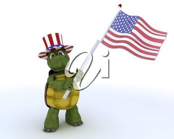 3D render of a tortoise with american flag