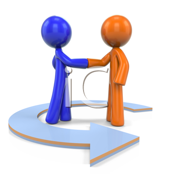 Royalty Free Clipart Image of an Orange and Blue Man Shaking Hand With an Arrow Circling Them