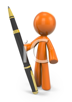 Royalty Free Clipart Image of an Orange Guy Holding a Pen