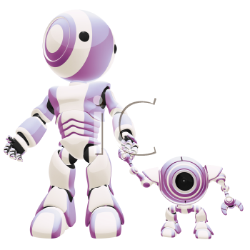A big and small robot holding hands, the small one is staring at the viewer.