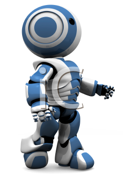 A blue and white robot walking forward in determination. Or maybe he has just come off the assembly line and is looking at the new world before him!