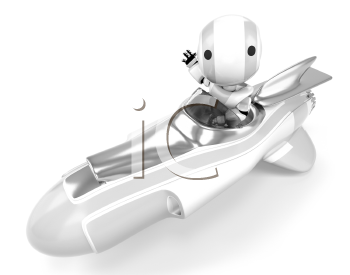 A robot in a hover rocket waving at the viewer viewed from the side.