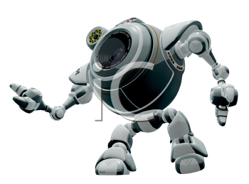 Royalty Free Clipart Image of a robot web cam looking up.