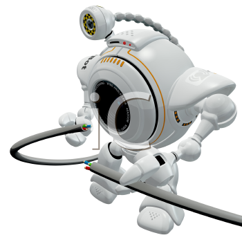 Royalty Free Clipart Image of a robot web cam holding a broken electronics cable.