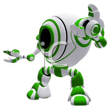 A small robot in a defensive pose, with his arms spread out, almost in awe.
