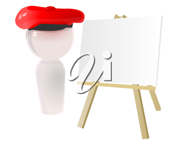 3D Illustration of a Painter Standing Beside his Easel and Canvass