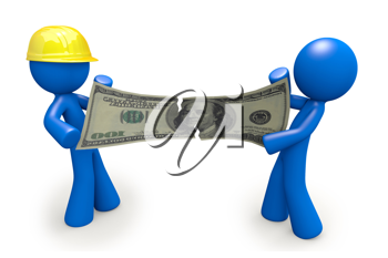 Royalty Free Clipart Image of Two Blue Men Fighting Over a Hundred Dollar Bill