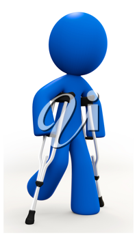 Royalty Free Clipart Image of a Blue Man Walking with Crutches