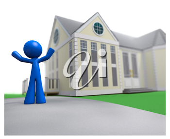 Royalty Free Clipart Image of a Blue Man Standing Outside of a House