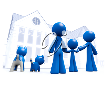 Royalty Free Clipart Image of a Blue Man Family Looking at a House