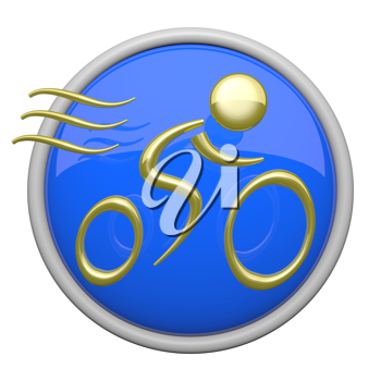 Blue bike riding icon, health and fitness symbol.