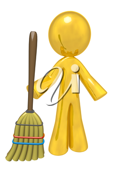 How better to depict quality cleaning services than with a big golden humanoid person holding a rather commonplace broom! Cliche? I think not!