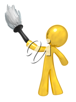 Gold man holding a duster, denotes quality cleaning services, general maintenance, and so forth. Always at top quality.