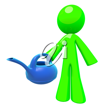 Green man holding a blue plastic watering can, a nice modern concept in greener earth, conservation and natural sciences. Gardening and maintenance related professional concept.