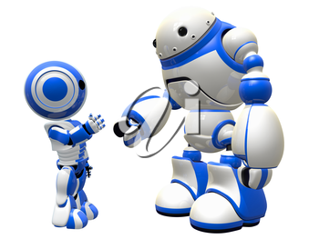 Two robots becoming friends, communicating, or shaking hands.