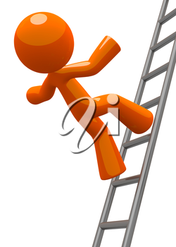 A concept in workplace safety, and orange man falling from a ladder. Also can be a general Missed Goals concept.