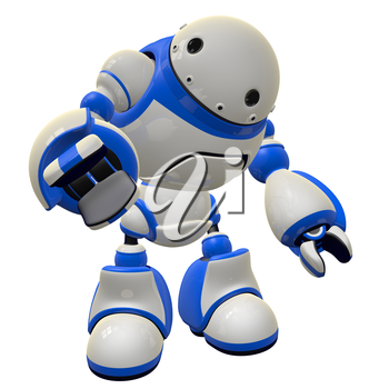 Large robot software security concept. He is pointing at the viewer, or possibly grabbing for an object.