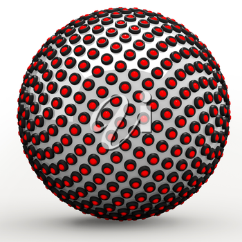 Abstract technol sphere, 3d golden ratio Fibonacci sequence concept. Red LEDs lining a metallic sphere.