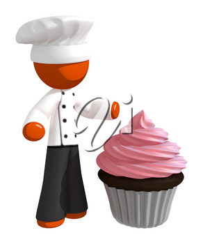Orange Man Chef with Giant Cupcake