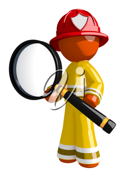 Orange Man Firefighter Holding a Really Big Magnifying Glass