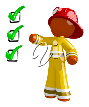 Orange Man Firefighter Safety Checklist