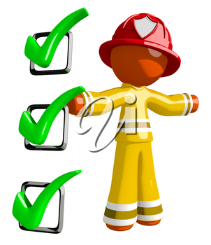 Orange Man Firefighter Safety Checklist Large Checkmarks