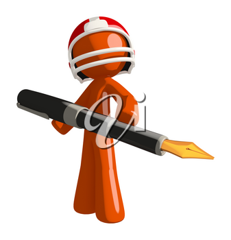 Football player orange man using a giant pen possibly checking score.
