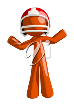 Football player orange man waving arms in confusion