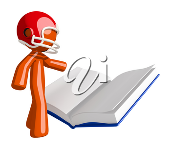 Football player orange man reading a book on football strategy