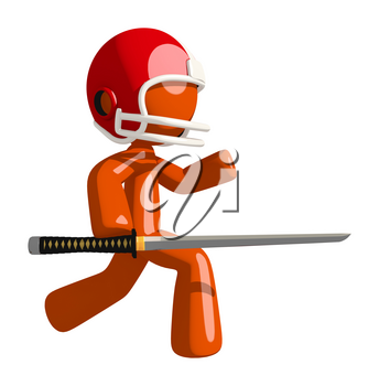 Football player orange man holding a ninja sword slicing through the competition.
