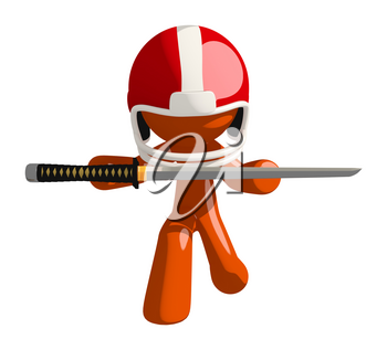Football player orange man holding a ninja sword handing over his sword as a sign of respect towards the victorious team.