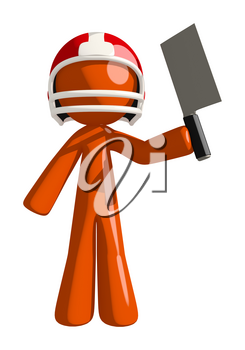 Football player orange man ready to cut competition to pieces with his handy meat cleaver.