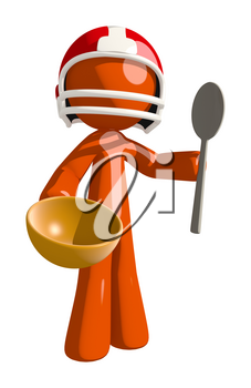 Football player orange man holding a bowl and a spoon