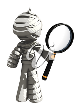 Mummy or Personal Injury Concept Holding a Very Big Magnifying Glass