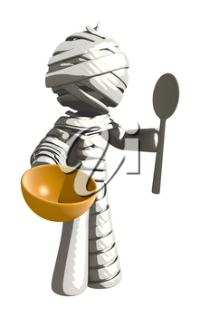 Mummy or Personal Injury Concept Holding Bowl and Spoon