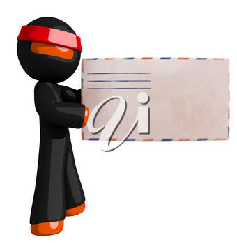Orange Man Ninja Warrior With Envelope