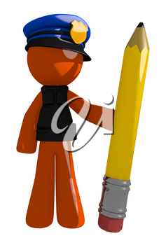 Orange Man police officer  Holding Giant Pencil