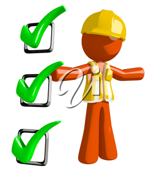 Orange Man Construction Worker  Presenting Green Checkmark List