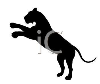 Royalty Free Clipart Image of a Black Lion
