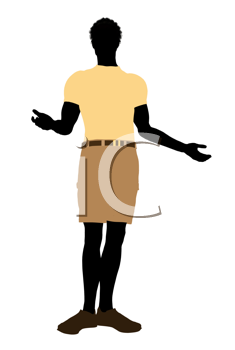 Royalty Free Clipart Image of a Guy in Shorts