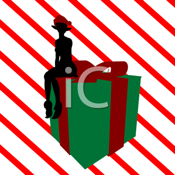 Royalty Free Clipart Image of an Elf on a Christmas Gift