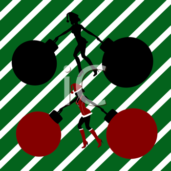 Royalty Free Clipart Image of Elves With Big Ornaments on a Green Striped Background