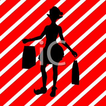 Royalty Free Clipart Image of a Shopping Elf on a Striped Background