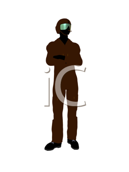 Male pilot silhouette illustration on a white background
