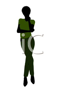 Royalty Free Clipart Image of a Woman in Green