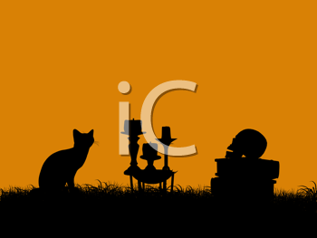 Royalty Free Clipart Image of a Halloween Scene With a Cat and Candles