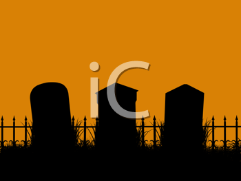 Royalty Free Clipart Image of a Graveyard