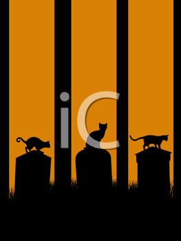 Royalty Free Clipart Image of Three Cats in a Graveyard