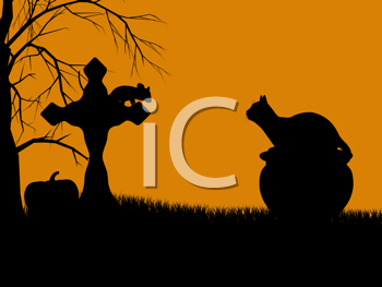Royalty Free Clipart Image of a Cat on a Pumpkin By a Tombstone